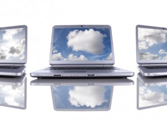 Cloud computing concept in three modern laptop isolated on white